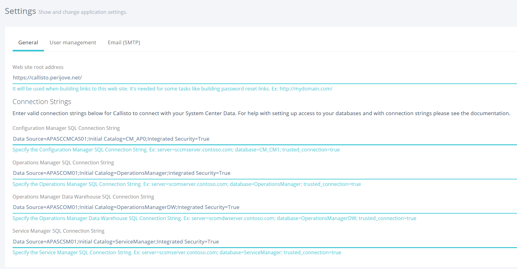 Setting Up Database Connections Apajove Level Security When The Connection Strings Are Correctly Added And Permissions Set As Required Top Callisto Dashboard Will Show Successful